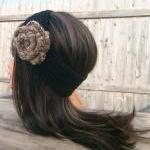 Flower Headband, Black, Hip..