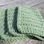 Green Cotton Wash Cloth Set..