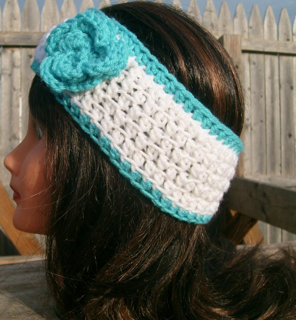Headband, Turquoise, White, Flower, Crochet, Sale