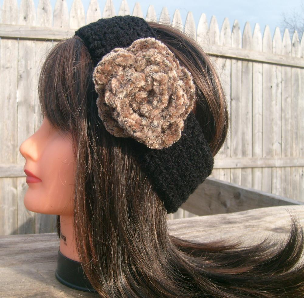 Flower Headband, Black, Hippie, Crochet