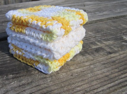 Yellow/White Dish Cloth Set, Wash Cloth Set, Cotton