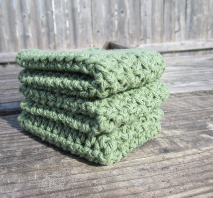 Green Cotton Wash Cloth Set, Dish Cloth Set, Housewares